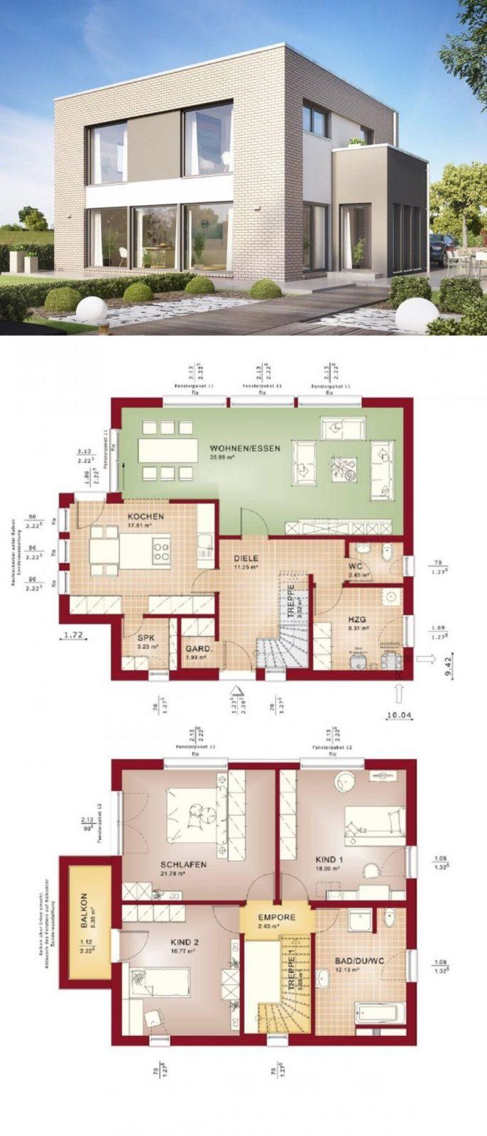 Stadtvilla Modern Mit Klinker Fassade & Flachdach Architektur Im von Bien Zenker Evolution 154 Photo