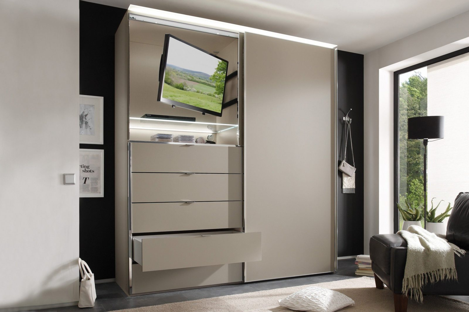 Staud Media Light Schrank Umbra  Möbel Letz  Ihr Onlineshop von Kleiderschrank Mit Tv Fach Bild