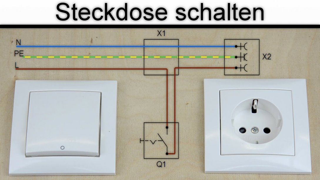 Steckdose Schalten  Steckdose An Schalter Anschließen  (Ohne von Steckdose An Lichtschalter Anklemmen Photo