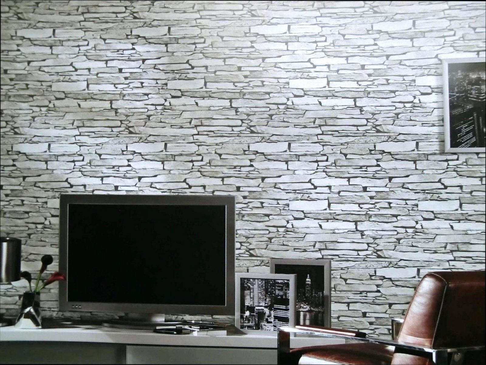Stein Tapete 3D Faszinierend Anthrazit Steintapete Wohnzimmer von Stein Tapete 3D Wohnzimmer Photo