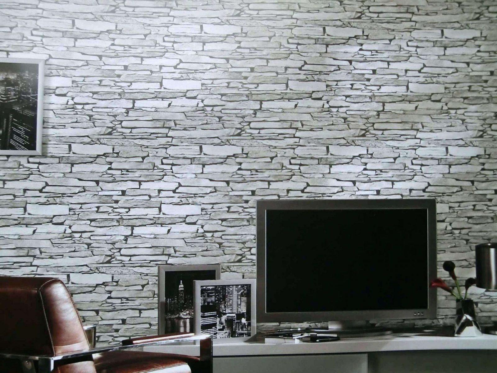 Steintapete Hell Steintapeten In 3D Optik Grau Beige Braun Design von Stein Tapete Wohnzimmer 3D Bild