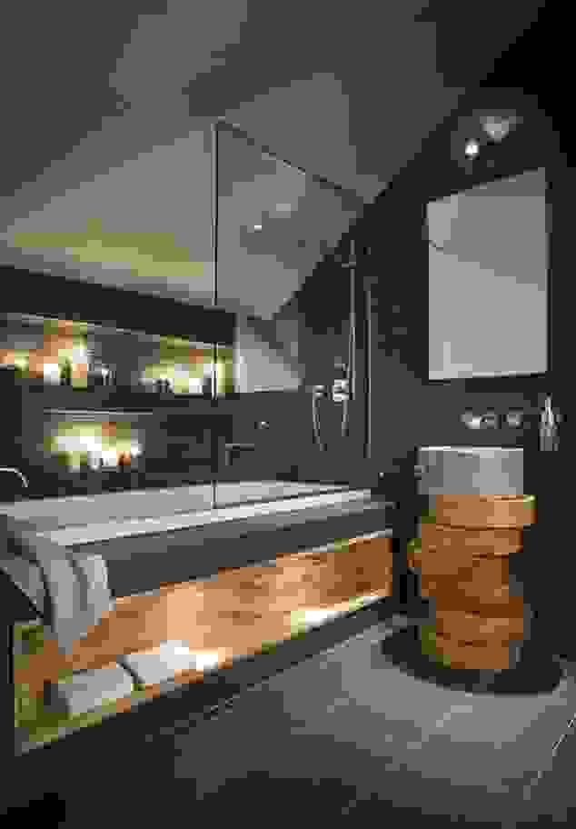 Stilvolle Und Mutige Badgestaltung In Schwarz  Freshouse von Moderne Bäder Mit Holz Photo