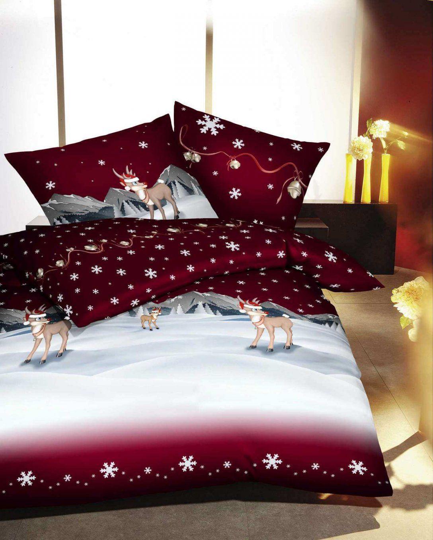 Stimmungsvolle Weihnachtsbettwäsche Für Das Schlafzimmer von Biber Bettwäsche Weihnachtsmotiv Photo
