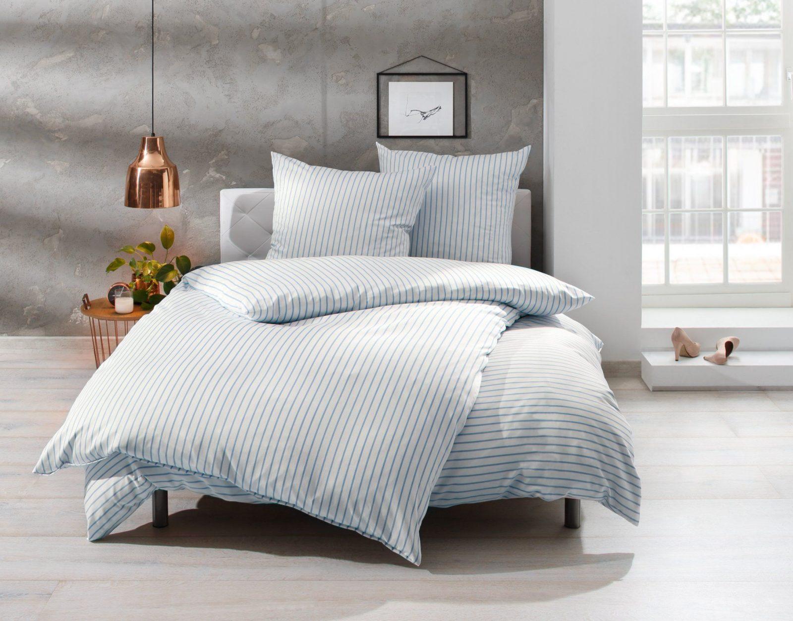 Streifen Bettwäsche Blau Weiß  Bettwaeschemitstil von Bettwäsche Landhausstil Weiß Bild