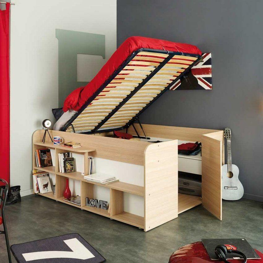 Studenten Bett Hedda In Eiche Weiß Mit Stauraum 140X200 Cm  Bett von Schrank Mit Integriertem Bett Photo