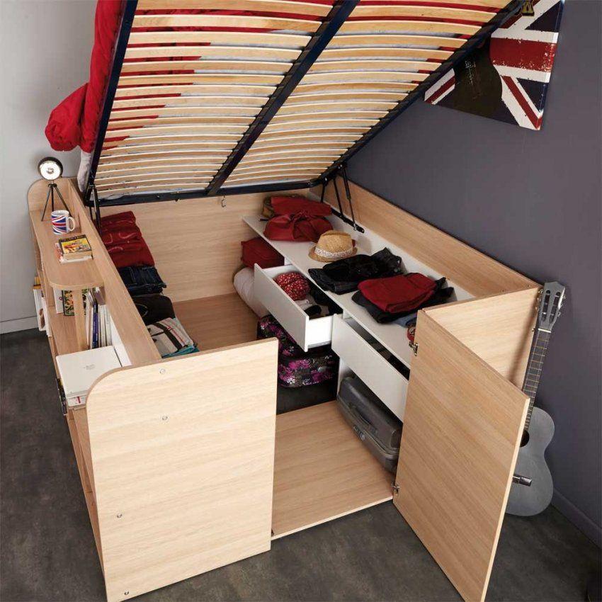 Studenten Bett Hedda In Eiche Weiß Mit Stauraum 140X200 Cm von Schrank Mit Integriertem Bett Bild