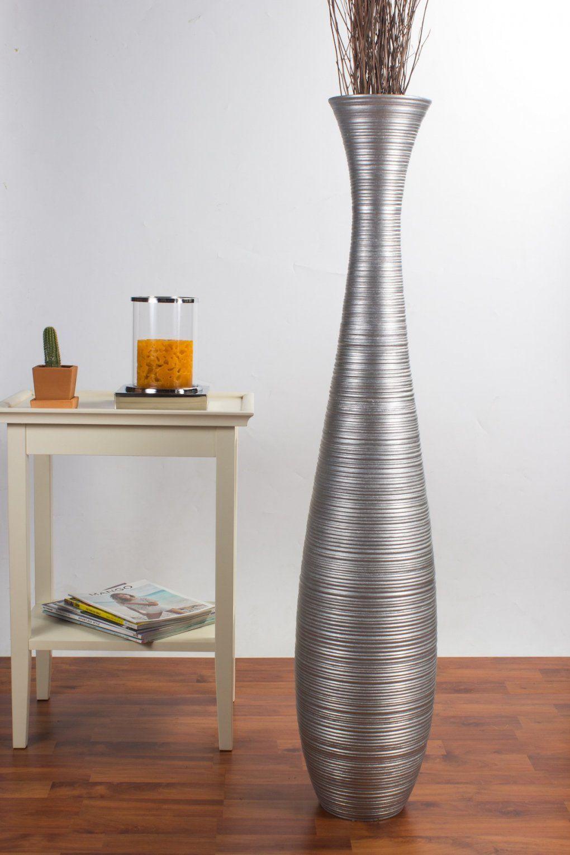 Tall Floor Vase 112 Cm Mango Wood Silvercoloured  Online Günstig von Very Tall Floor Vases Bild