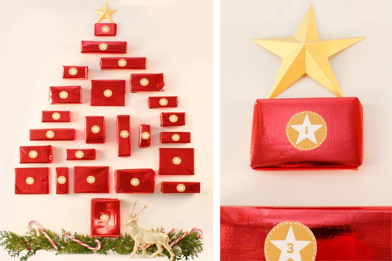 Tannenbaum Adventskalender Mit Kleinen Geschenken Bastelvorlage von Ausgefallene Adventskalender Selber Basteln Photo