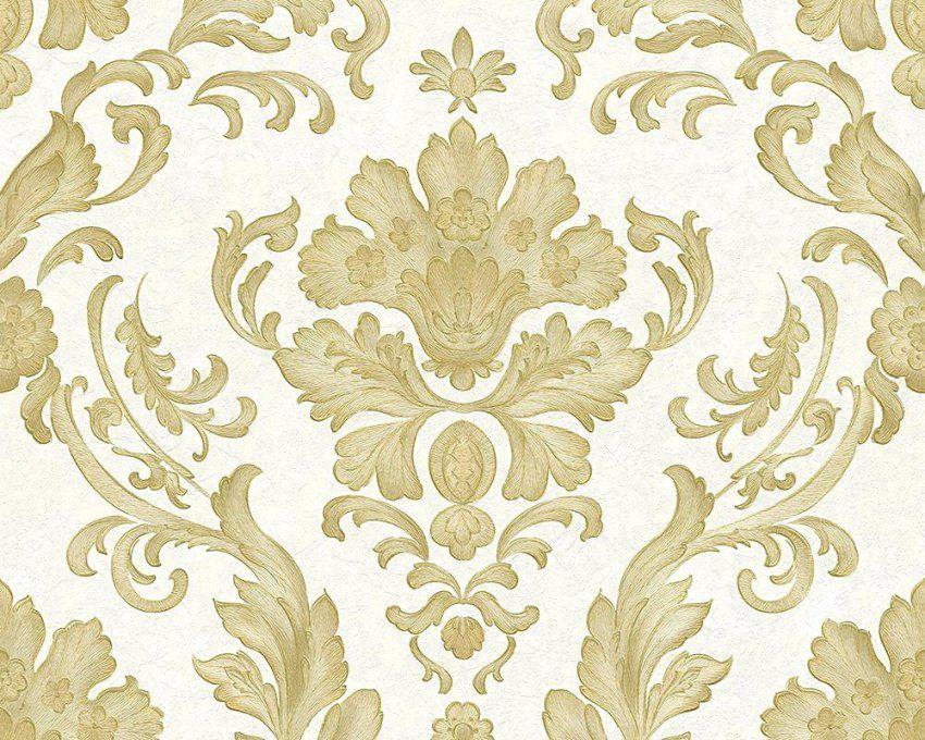 Tapete Gold Weiss Trianon 513011 Rasch Vliestapete Ornamente Weia von Barock Tapete Weiß Gold Bild