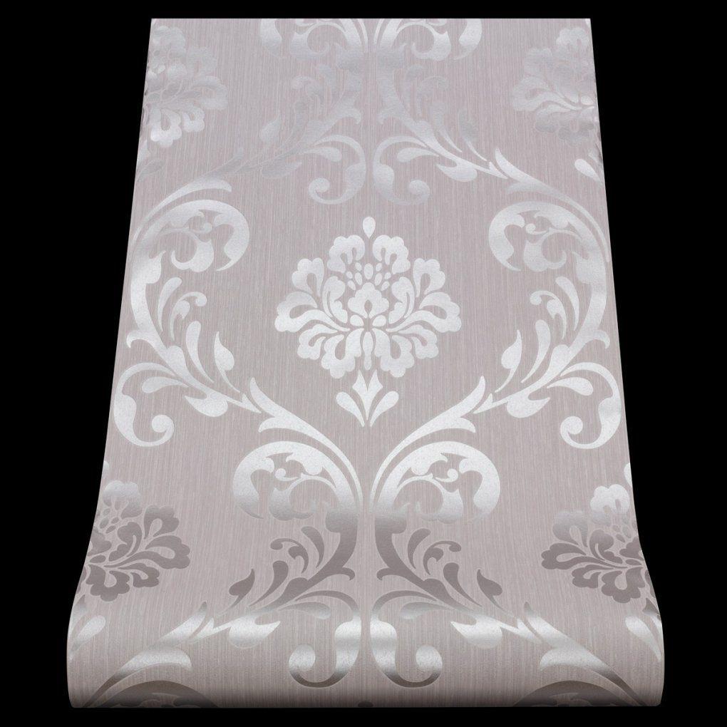 Tapete Ornament Vliesapete P+S 1311050 1311050 Barock Grau Silber von Graue Tapete Mit Glitzer Photo