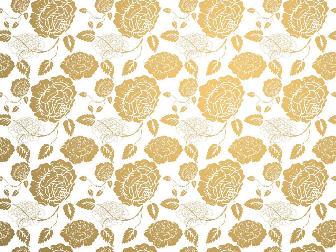 Tapete Rosa2 Gold Auf Weiss von Barock Tapete Weiß Gold Photo