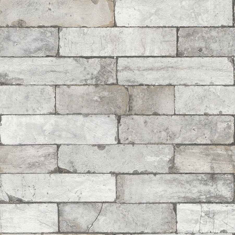 Tapete Vlies 3D Steinoptik Mauer Vintage Grau Weiß Rasch 446302 von Rasch Factory Stein Optik Mauer Vlies Tapete Bild