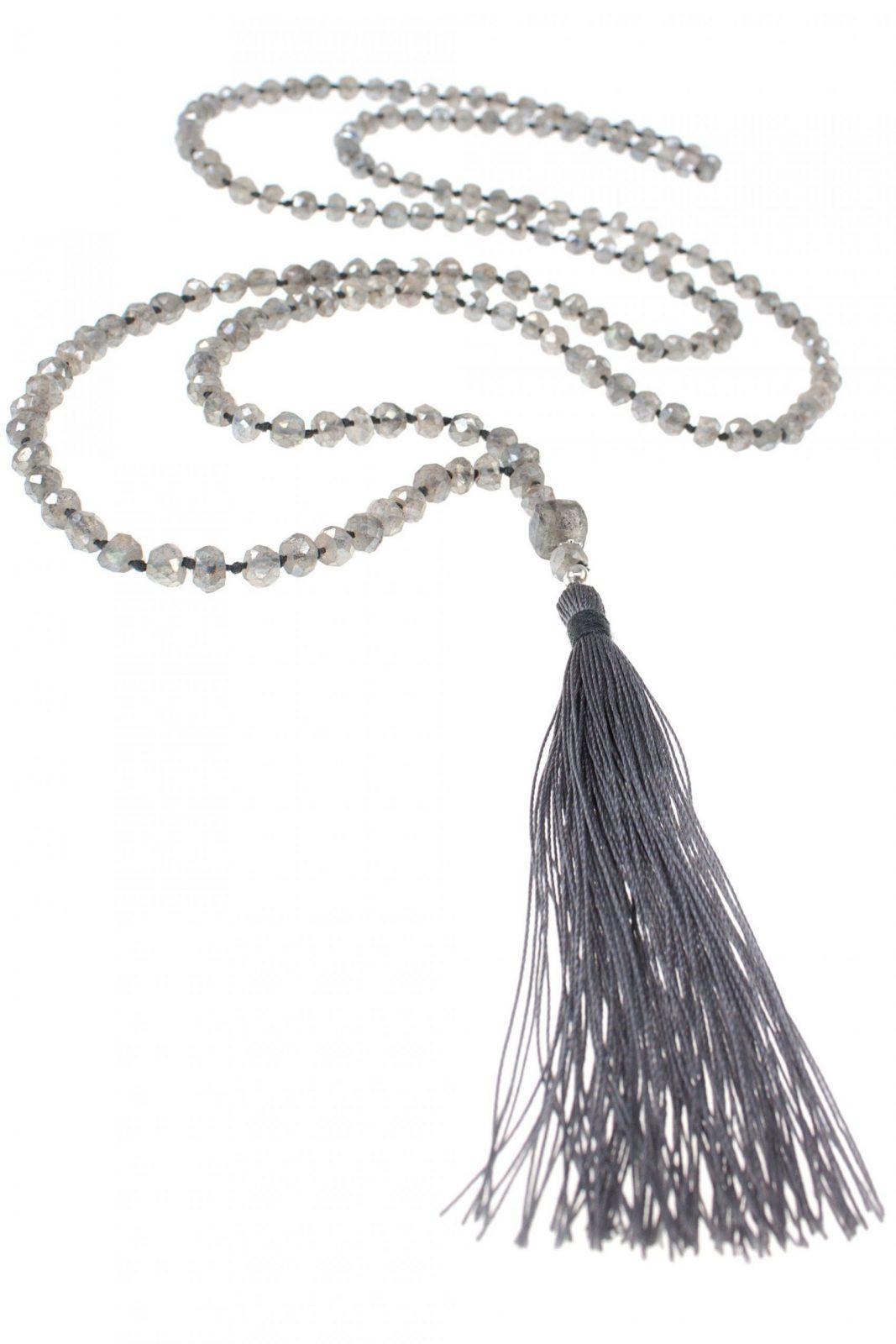 Tassel Kette Labradorit Quaste Grau Silber von Lange Kette Mit Quaste Photo