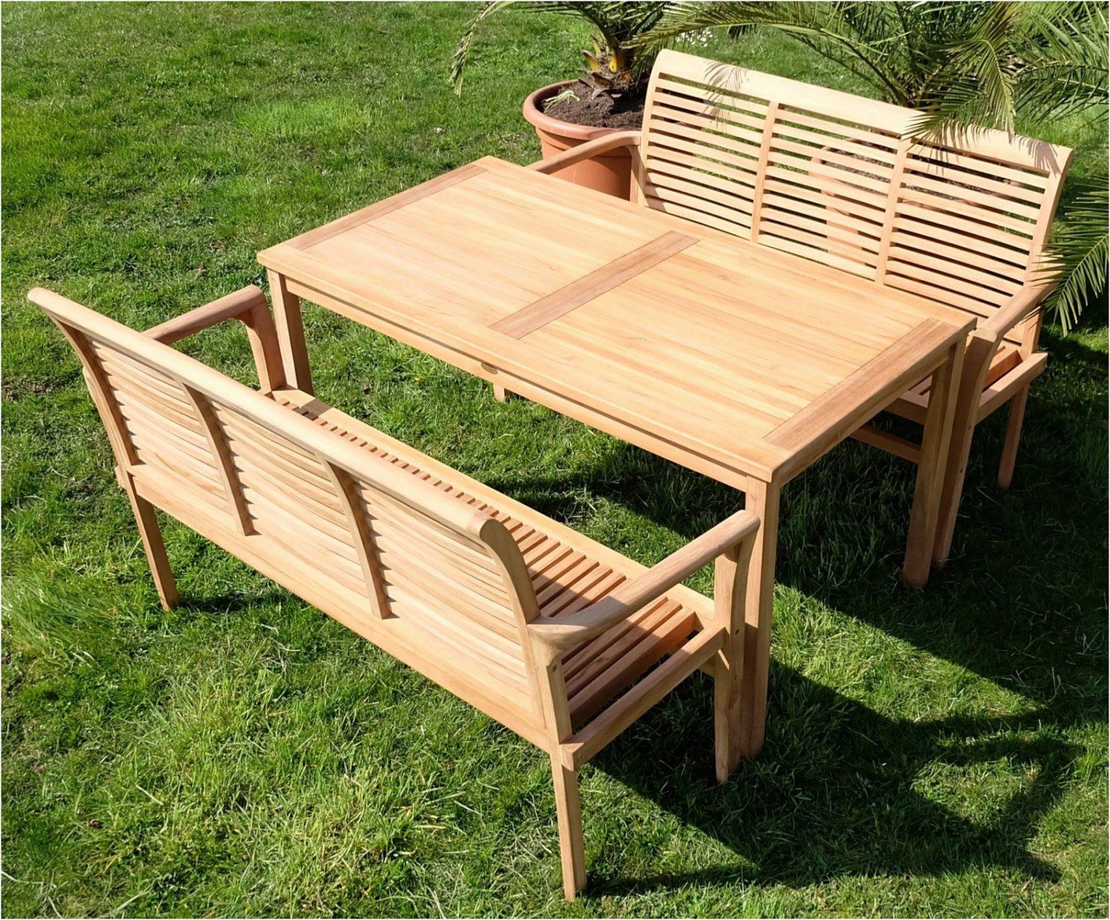 Teak Gartenmöbel Set Elegant Teak Xl Set Gartentisch 2 Bänke Alpen von Gartentisch Mit 2 Bänken Bild