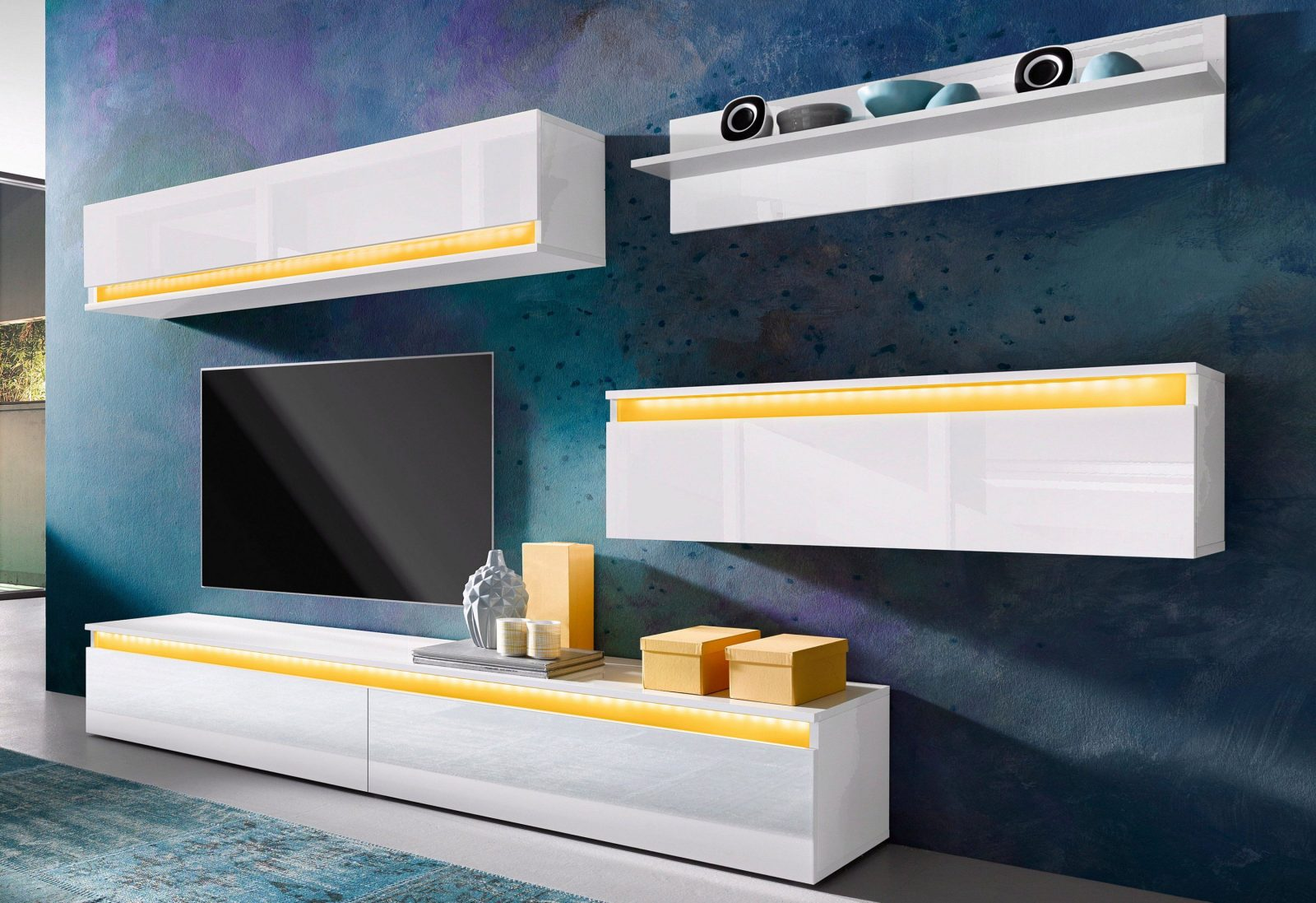 Tecnos Wohnwand (4Tlg) Kaufen  Baur von Lowboard Weiß Hochglanz Zum Hängen Photo