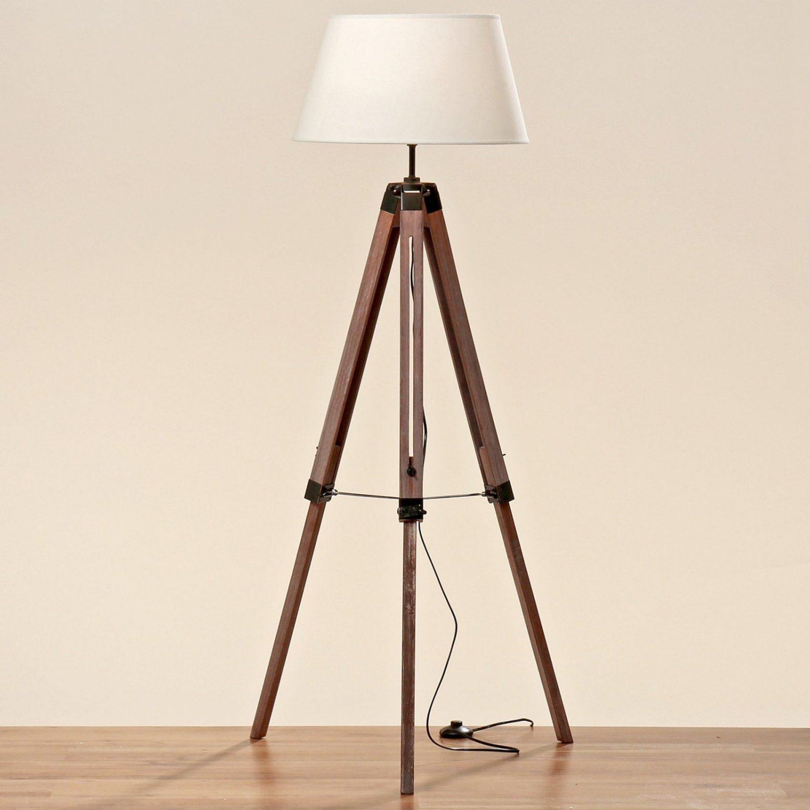 Teleskoplampe 145Cm Holz Schirm Stativ Stehlampe Lampe Teleskop von Stehlampe Mit 3 Beinen Bild