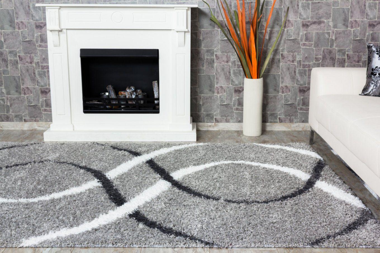 Teppich Shaggy Portofino Hochflor Modern 160X230 Cm Grau Weiß von Hochflor Teppich Grau 160X230 Bild