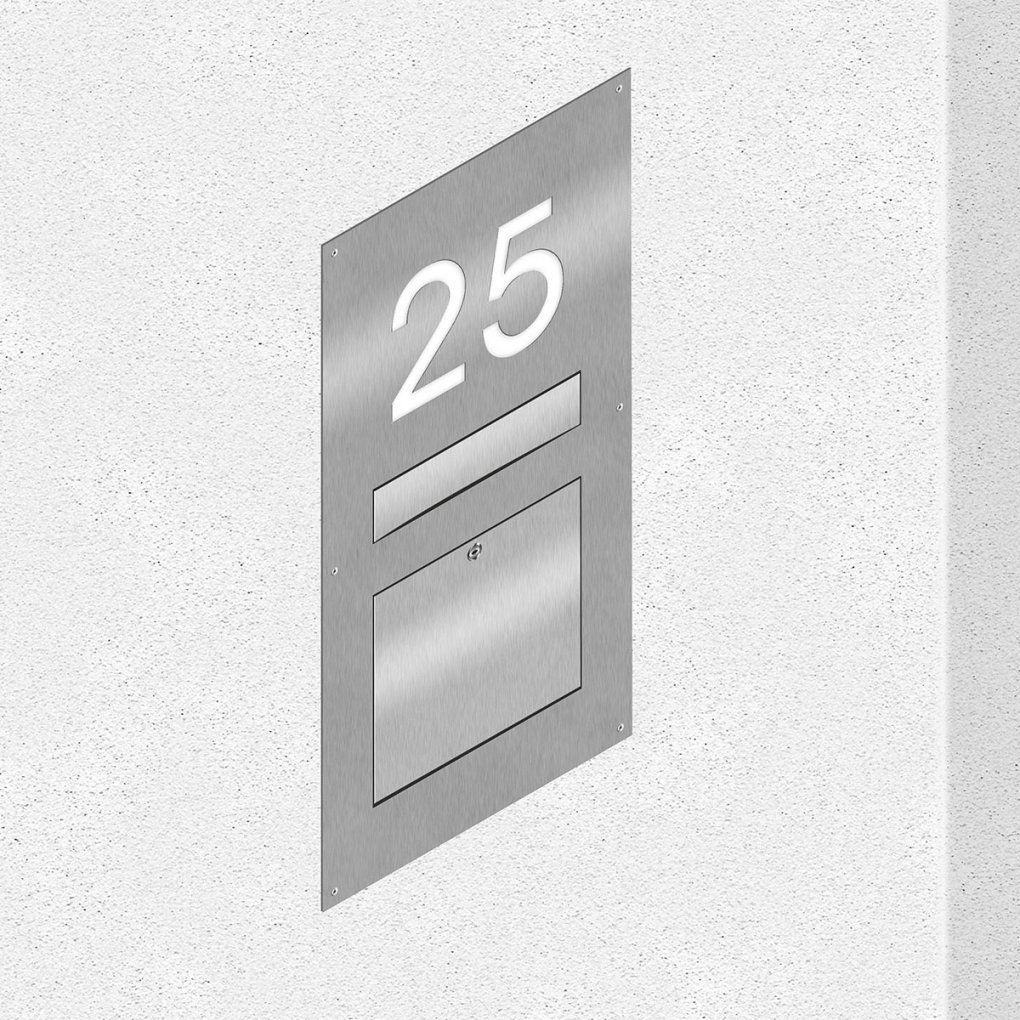 Thorwa® Edelstahl Wandbriefkasten+Beleuchteter Hausnummer Unterputz von Briefkasten Edelstahl Mit Hausnummer Photo