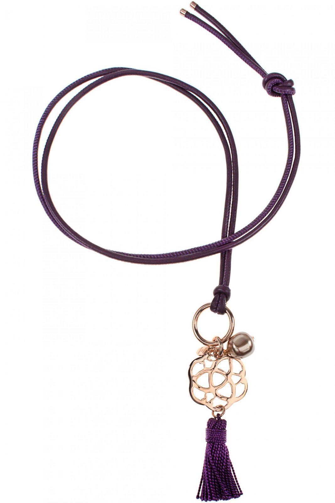 Tila Lederkette Quaste Violett Blume Perle von Lange Kette Mit Quaste Photo