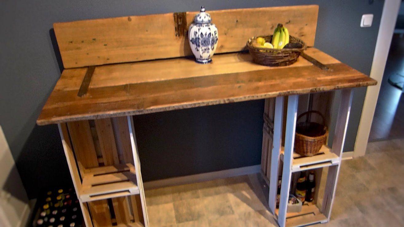 Tisch Selber Bauen (Aus Einer Tür Und Weinkisten)  Youtube von Möbel Türen Selber Bauen Bild
