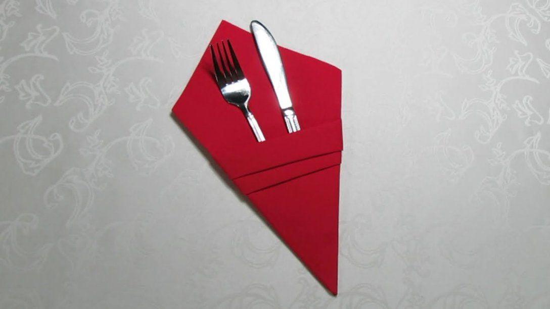 Tischdeko  Bestecktasche Aus Servietten Falten Ganz Einfach  Youtube von Servietten Falten Mit Besteck Photo