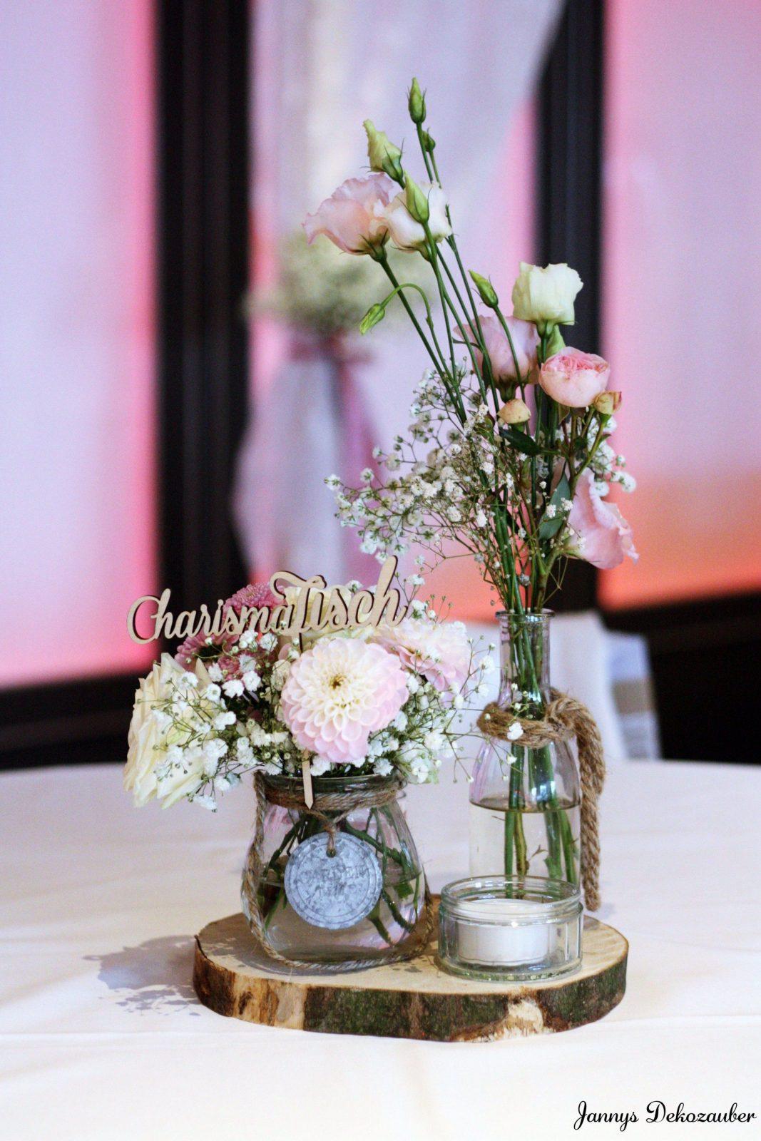 Tischdeko Hochzeit Deko Holzscheibe Deko Blumen Rosa Tischnummer Von