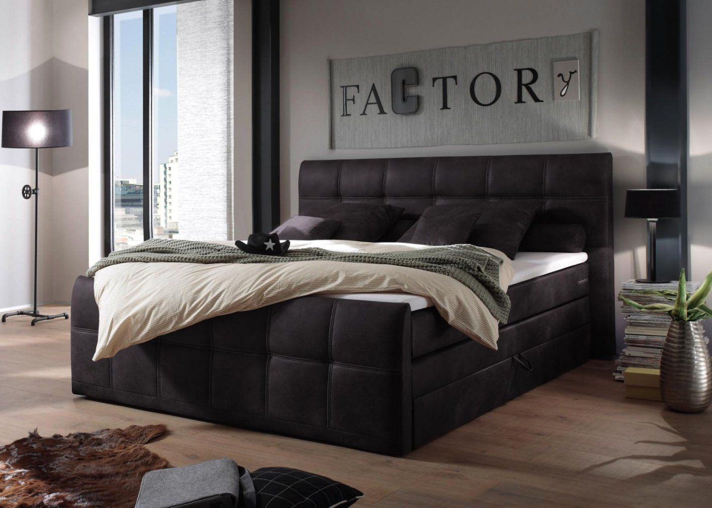 tolle boxspringbett 180 cm x 200 cm in textil anthrazit. Black Bedroom Furniture Sets. Home Design Ideas