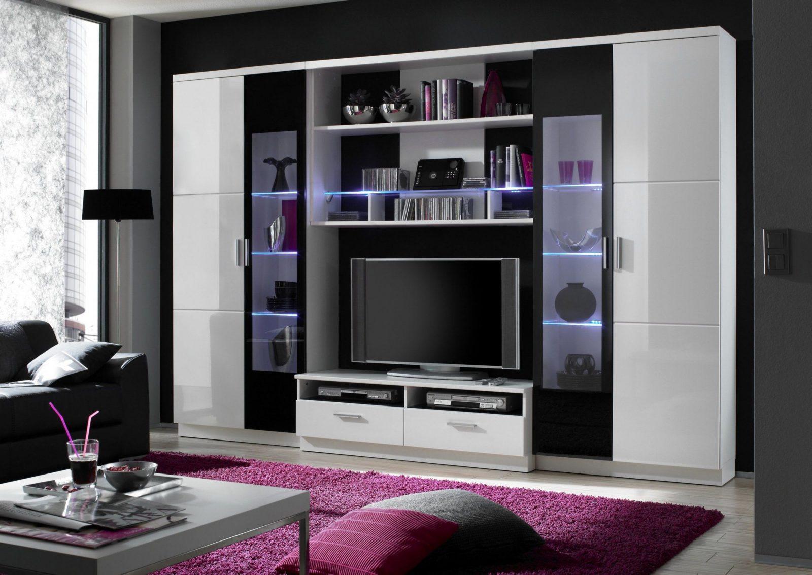 Tolle Wohnwand Weiß Schwarz Hochglanz Zum Wohnwände Hochglanz von Wohnwand Hochglanz Weiß Schwarz Bild