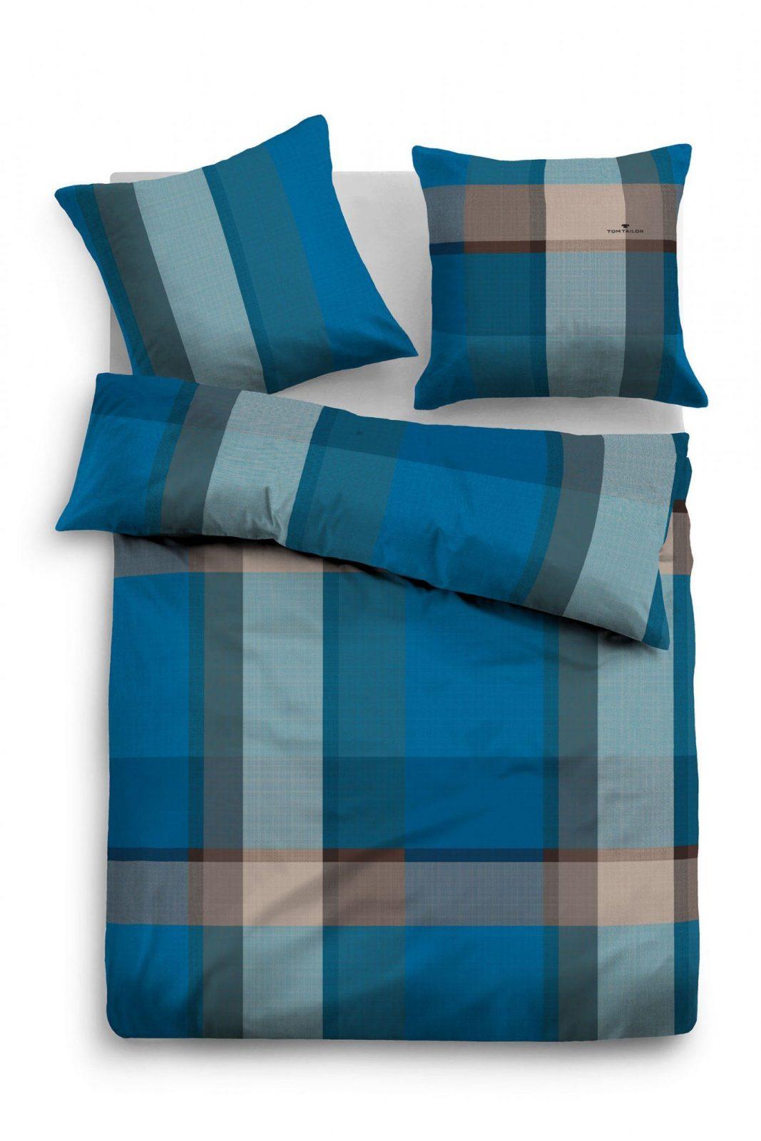 """Tom Tailor Flanell Bettwäsche """"blue Plaid"""" Blaugrau  Beauty von Tom Tailor Bettwäsche Satin Bild"""
