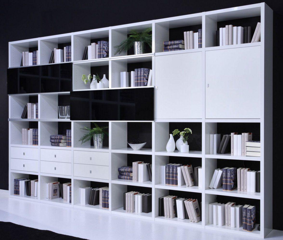 Toro Regalsystem Bücher Weiß Hochglanz Mit Türen Schubladen Wohnwand von Regal Mit Türen Weiß Hochglanz Bild
