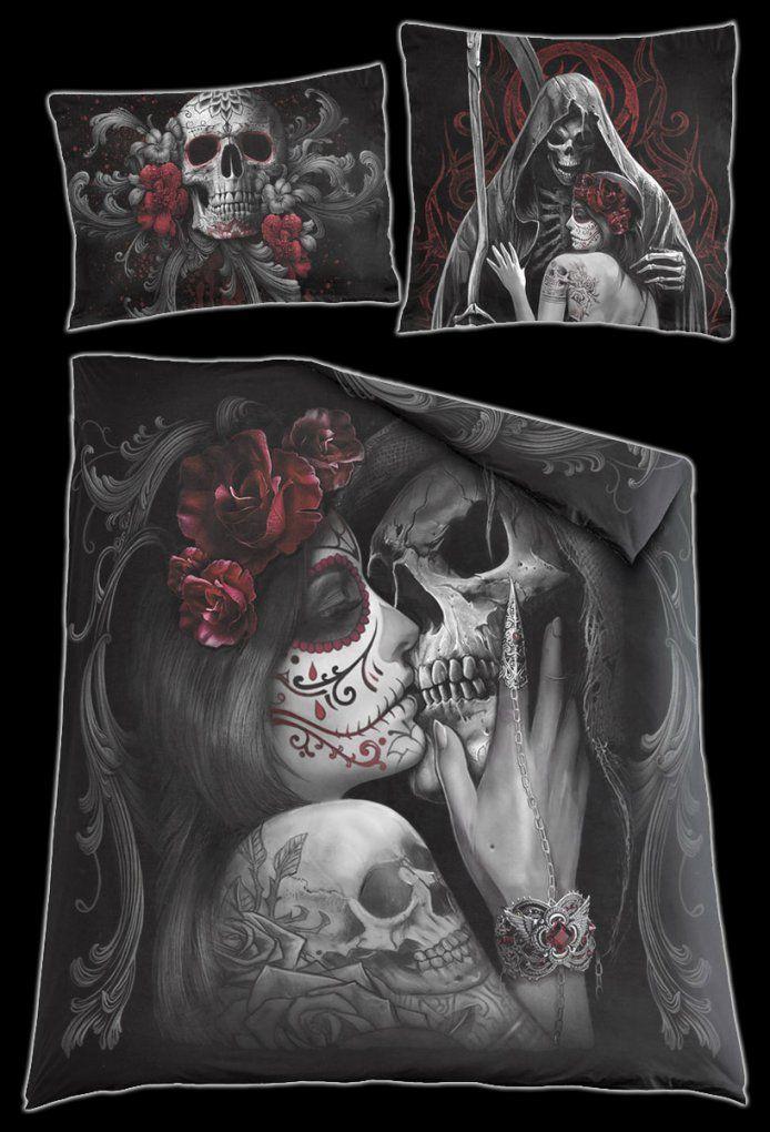Totenkopf Doppelbettwäsche  Skull Roses  Spiral  Wwwfigurenshop von Bettwäsche Totenkopf Motiv Photo