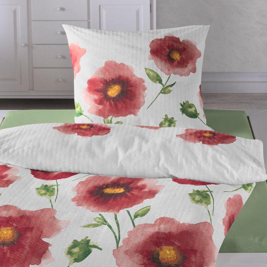 Traumschlaf Seersucker Bettwäsche Mohnblume Rot Günstig Online von Kaeppel Bettwäsche Mohnblume Photo