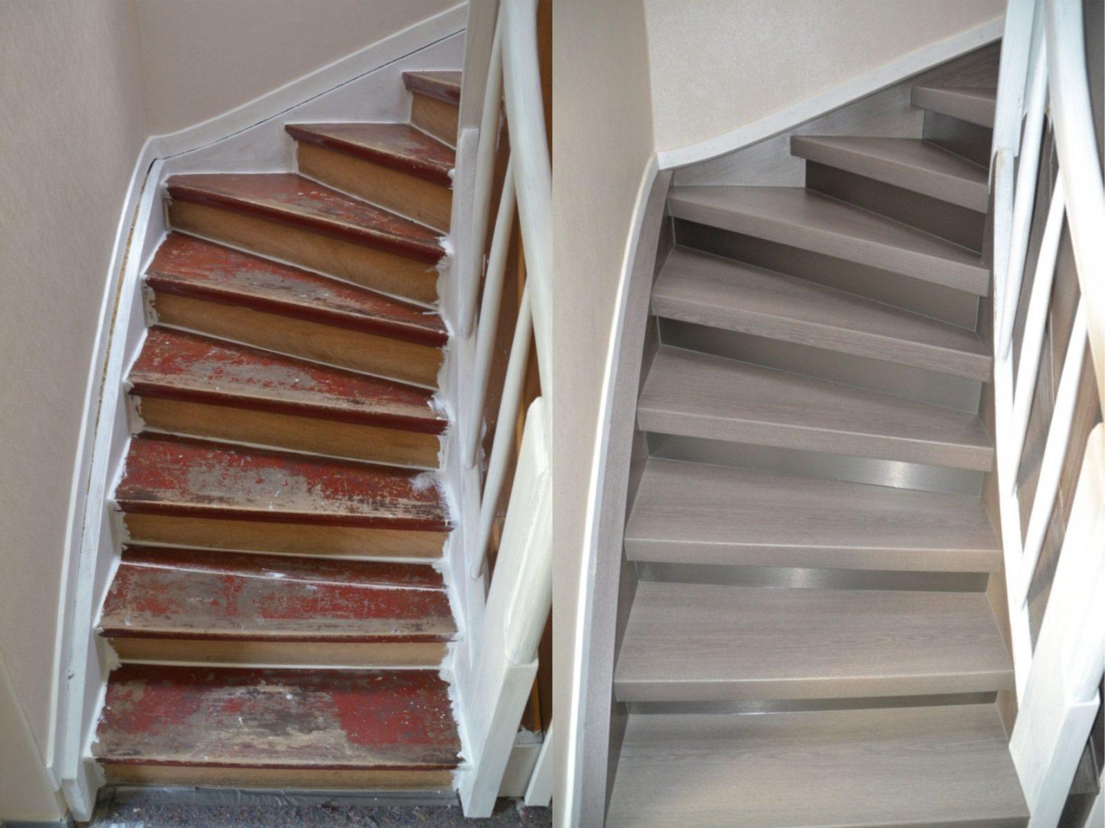 Treppenrenovierung In Lüdenscheid Eiche Grauedelstahl  Treppen von Treppe Renovieren Vorher Nachher Bild