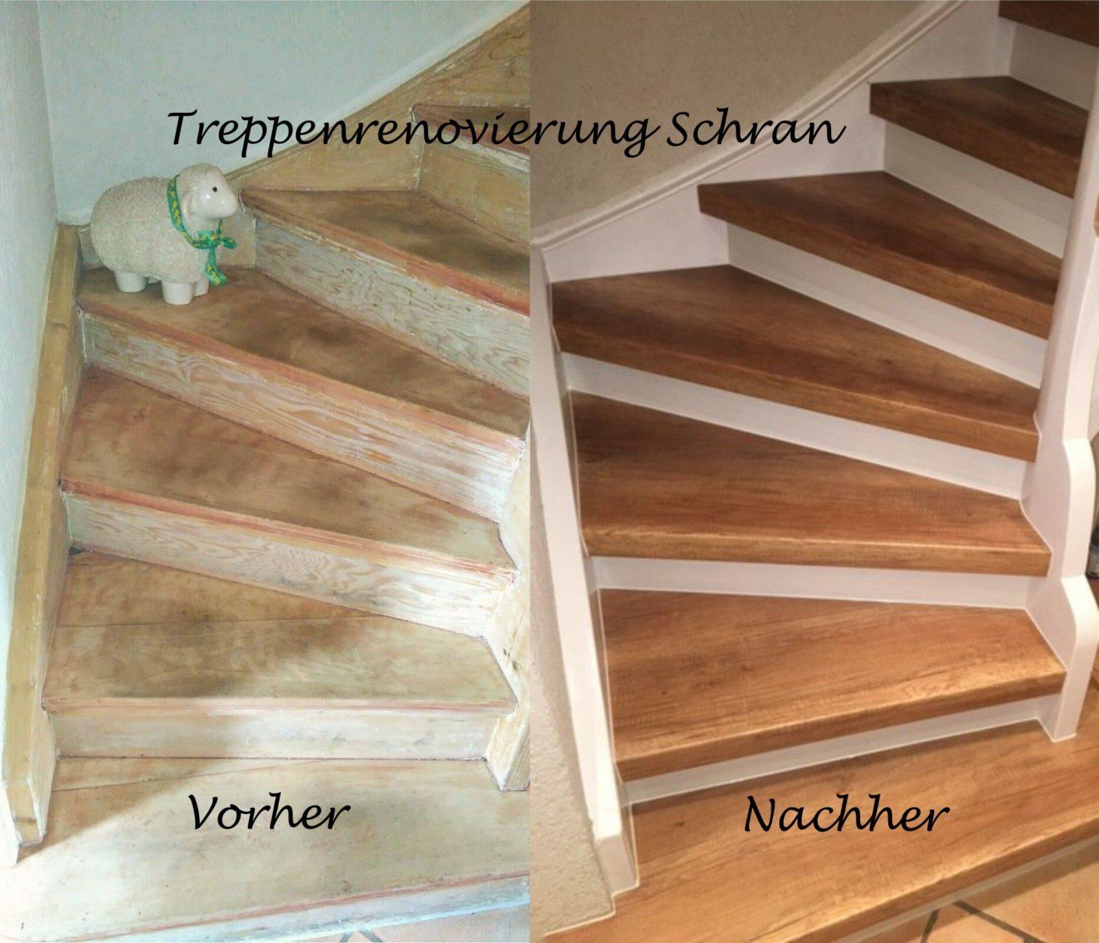 Treppenrenovierung Mit Laminatstufen Stufendekor Eiche Vintage von Treppe Streichen Ohne Schleifen Bild
