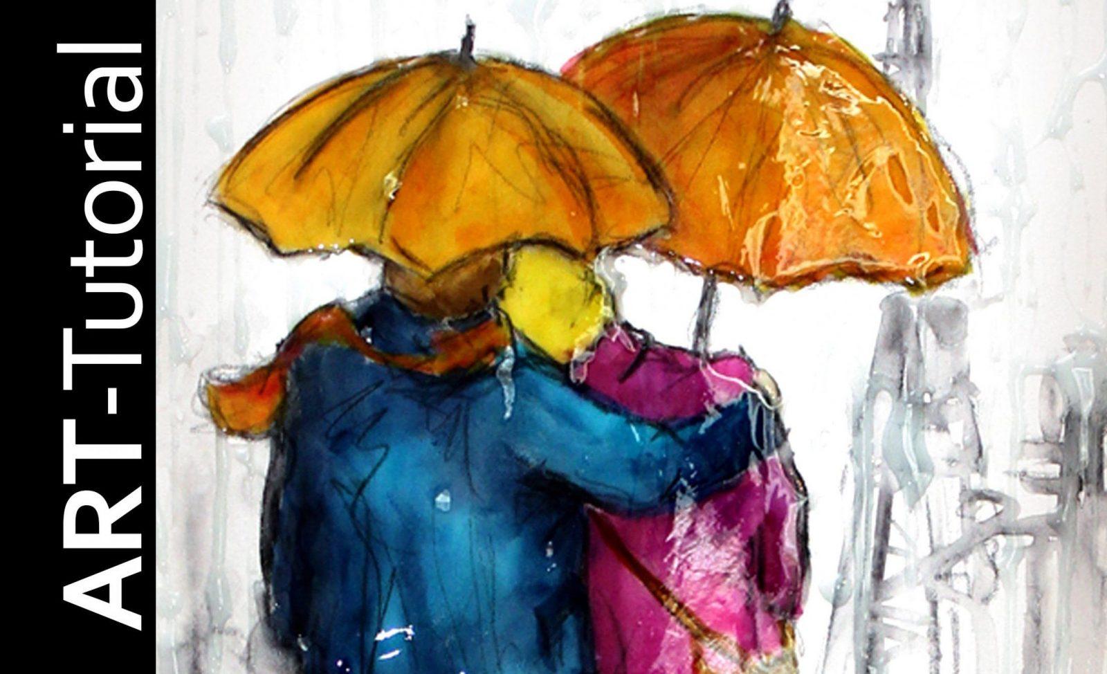 Tutorial malen mit isabelle abstrakte figuren im regen auf leinwand von acrylbilder abstrakt - Malen mit acryl auf leinwand ...