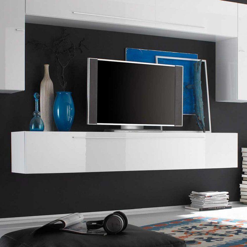 Tv Board Diazaja In Weiß Hochglanz Hängend  Pharao24 von Tv Lowboard Weiß Hängend Bild