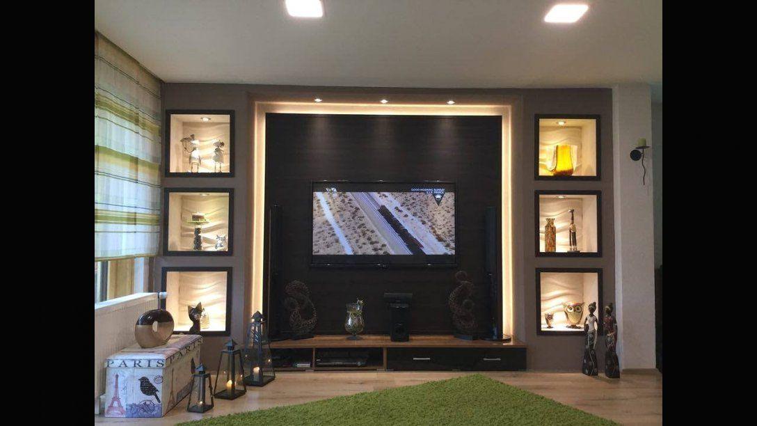Tv Wand Selber Bauen Wohnzimmer Living Room Tv Wall Youtube Avec von Wohnwand Selber Bauen Ideen Bild