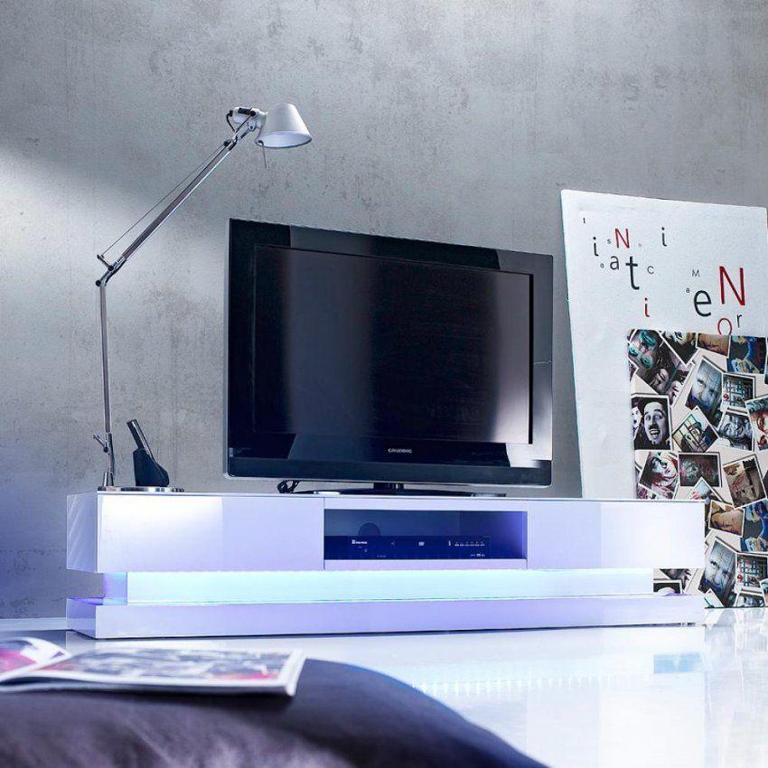 Tvlowboard Weiß Hochglanz  Auch Mit Beleuchtung  Möbilia von Tv Lowboard Weiß Hängend Bild