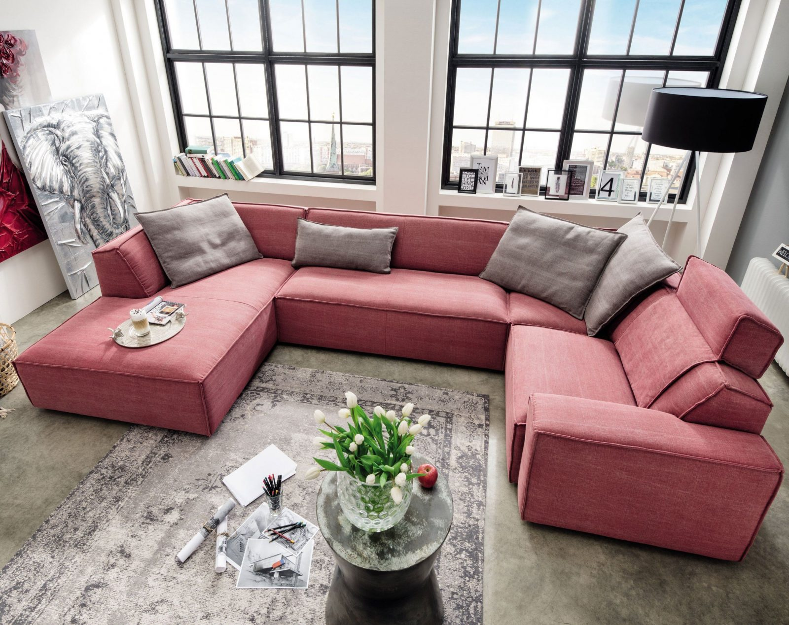 U Form Couch Gunstig Braun Sofa Kleine Big In With Mit von Kleine Wohnlandschaft Mit Schlaffunktion Photo