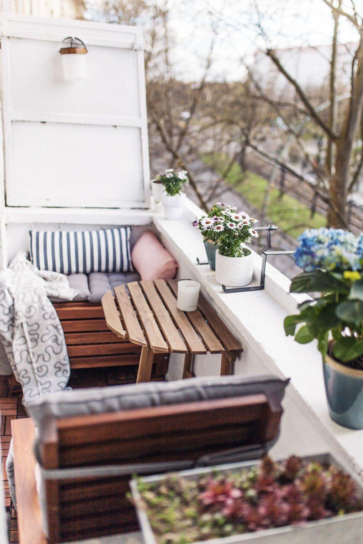 Unser Kleiner Minibalkon Tipps Einrichten Staufläche  Balkon von Ideen Für Schmalen Balkon Bild