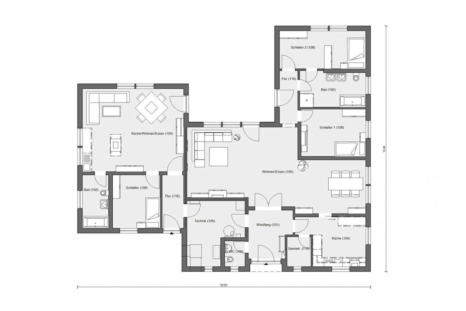 Ushaped Bungalow  Schwörerhaus von Bungalow L Form Grundriss Bild