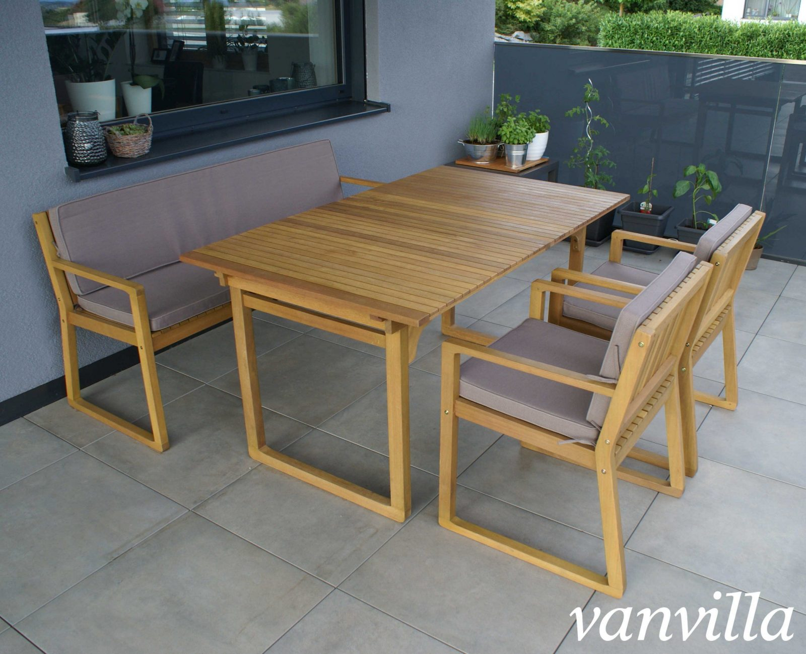Vanvilla Gartenmöbel Set Holz 1 Tisch 1 Bank 2 Sessel Set6 Auflage Braun von Gartenmöbel Set Holz Mit Bank Bild