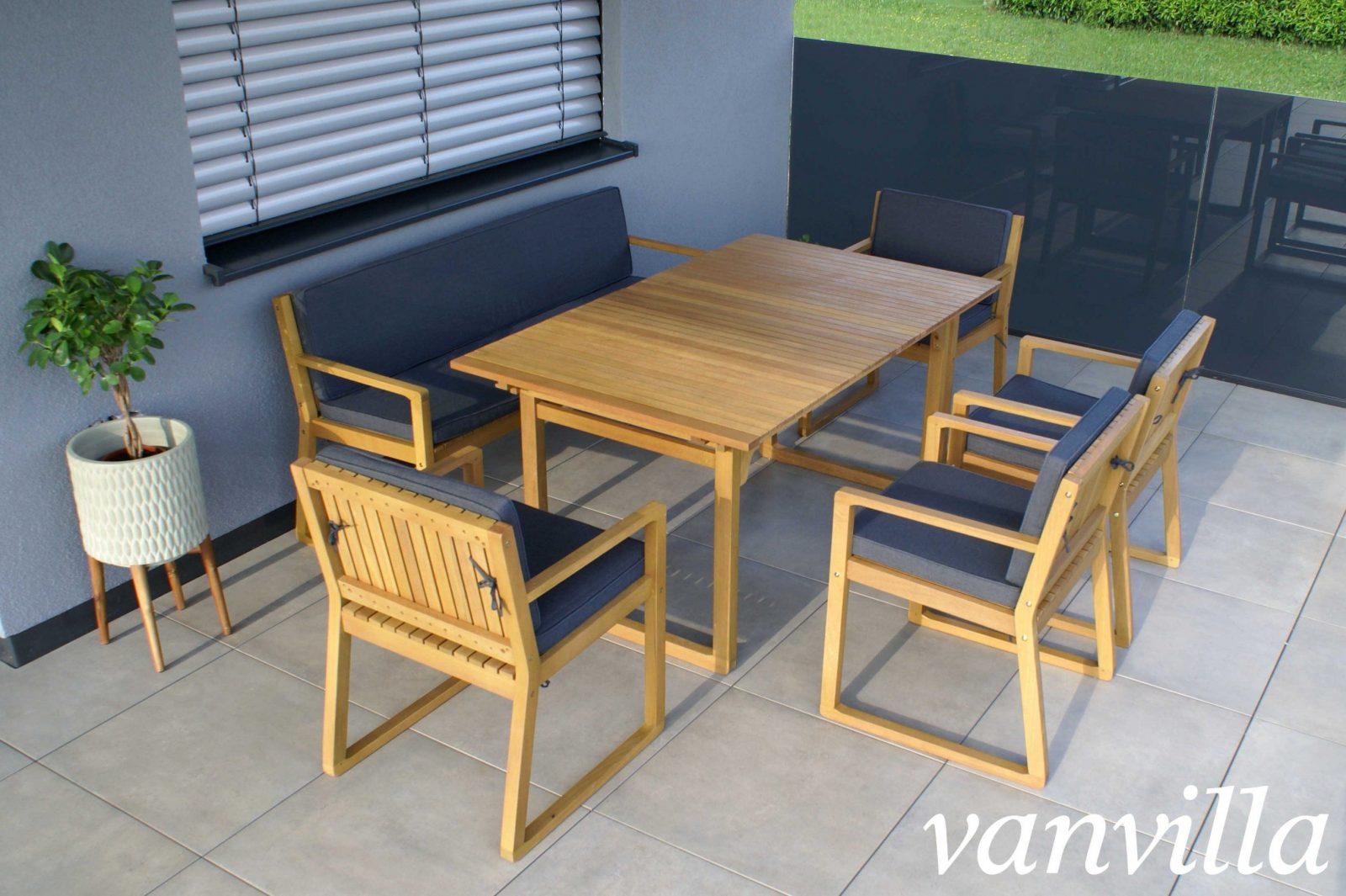 Vanvilla Gartenmöbel Set Holz 1 Tisch 1 Bank 4 Sessel Set1 Auflage Grau von Gartenmöbel Set Holz Mit Bank Photo