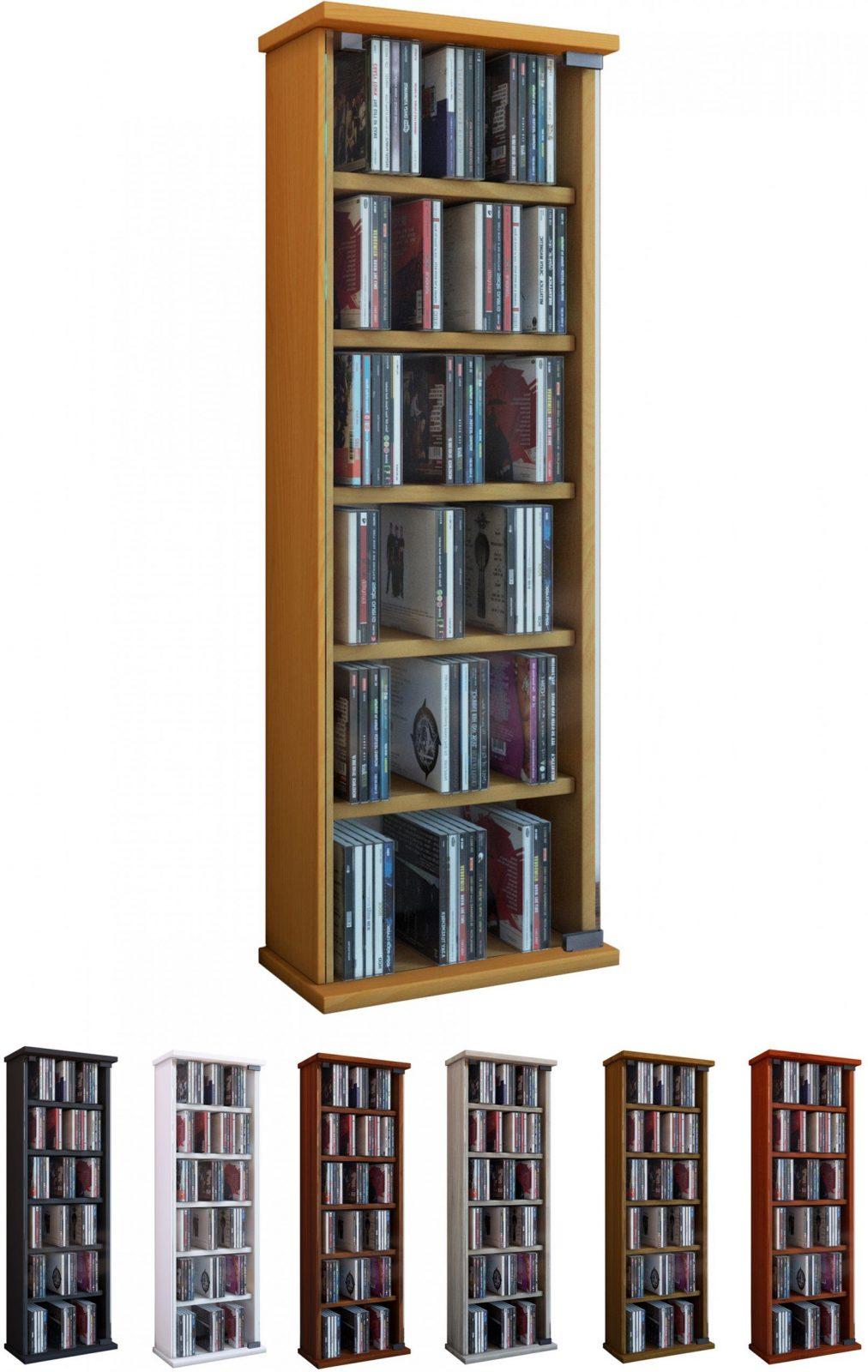 Vcm Gruppe  Vcm Regal Dvd Cd Rack Medienregal Medienschrank von Cd Regal Eiche Rustikal Bild