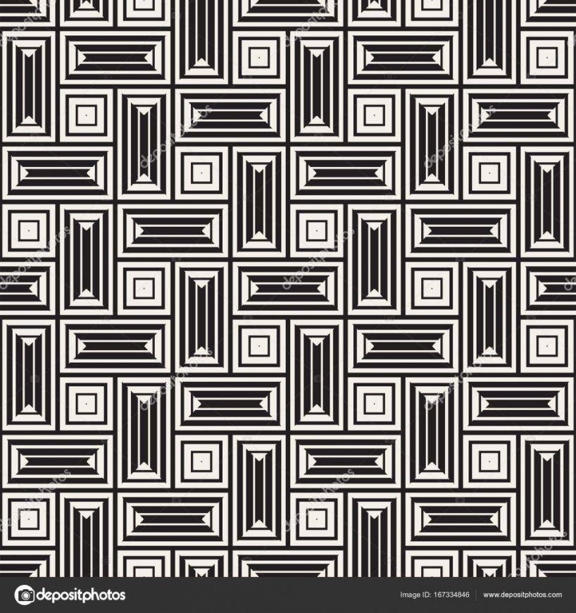 Vektor Nahtlose Schwarzweiß Linien Muster Abstrakten Hintergrund von Fliesen Schwarz Weiß Muster Bild