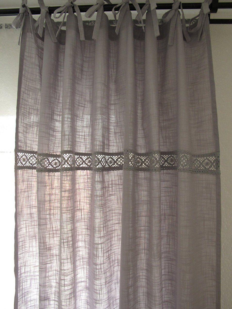 Verona Grau 2X 120X240Cm Spitze Vorhänge Vorhang Gardinen Shabby von Leinen Gardinen Mit Spitze Photo