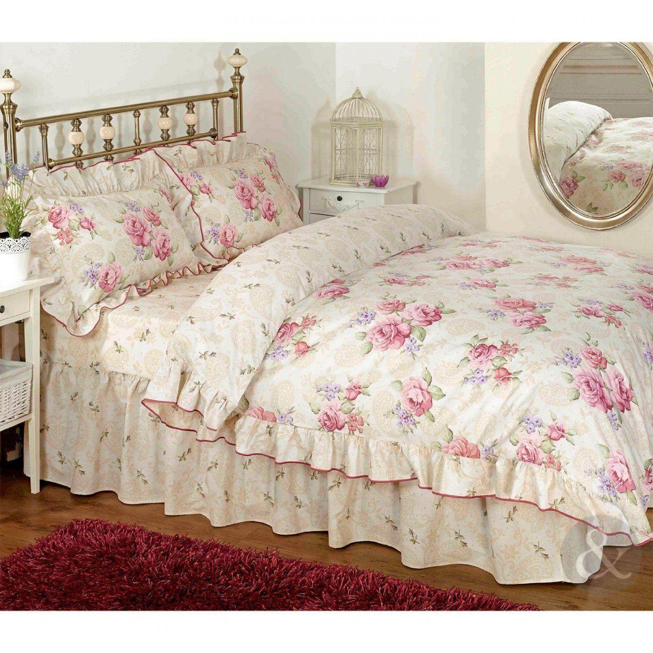 Vintage Floral Rüschen Bettwäsche Creme Beige Rosa Bettwäsche Set von Rüschen Bettwäsche Weiß Bild