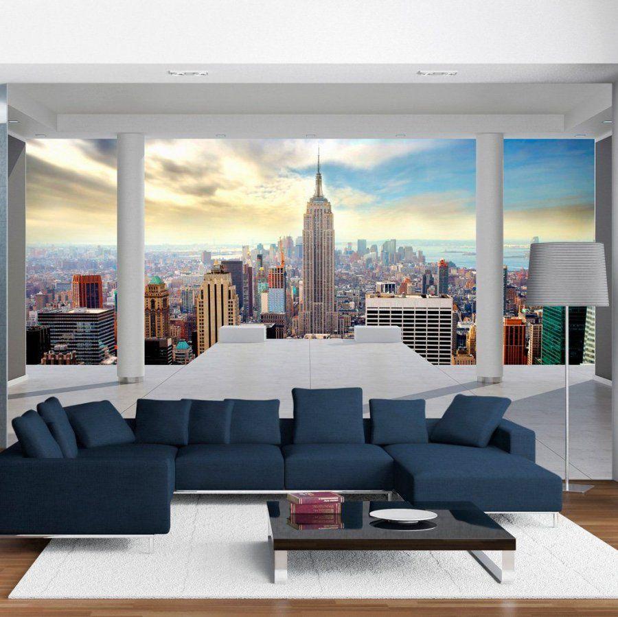 Vlies Fototapete 350X245 Cm  Top  Tapete  Wandbilder Xxl Wandbild von Fototapete 3D New York Bild