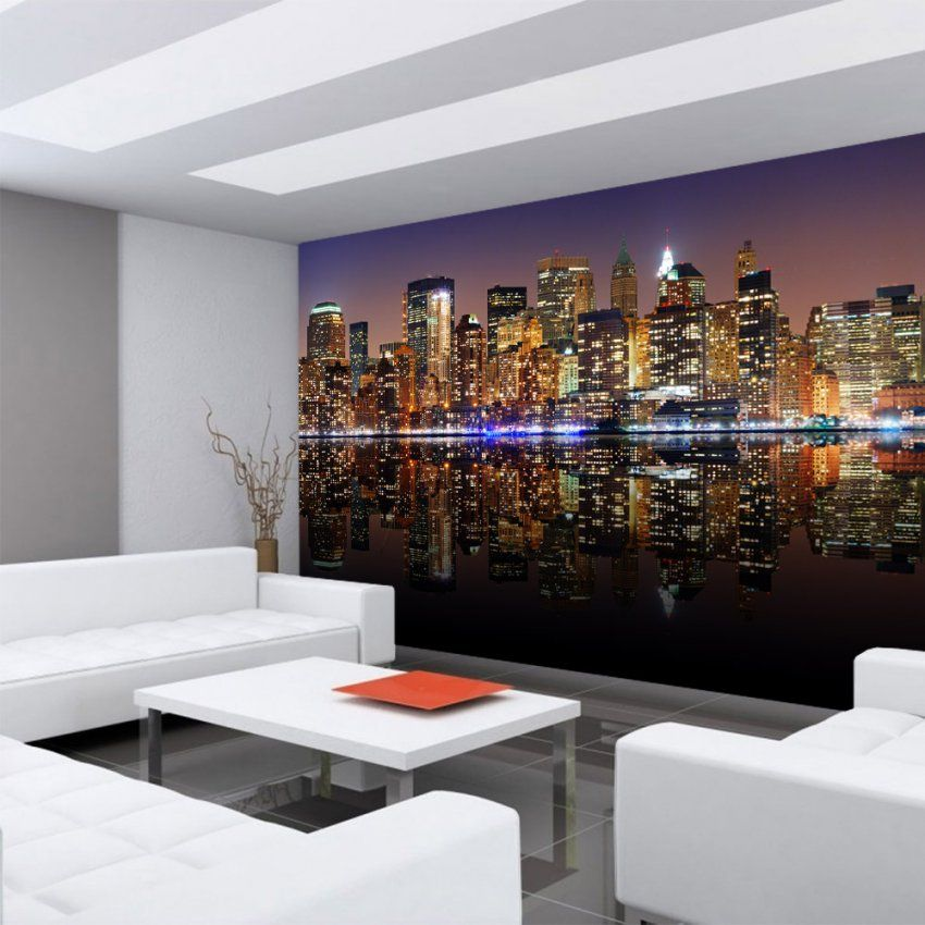 Vlies Fototapete New York Lights Skyline Usa Tapete New York City von Fototapete 3D New York Photo