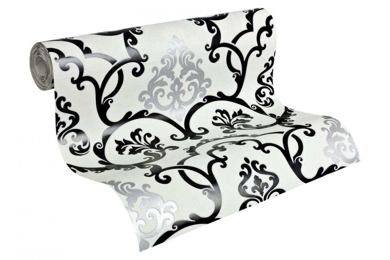 Vlies Tapete Barock Muster Ornament Schwarz Weiß Silber Glanz Effekt von Barock Tapete Schwarz Weiß Bild